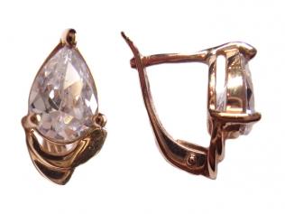 Золотые серьги с цирконием -