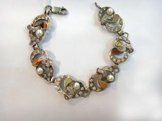 Серебряный браслет с жемчугом и цирконием