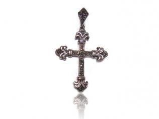 Серебряный крестик с марказитом