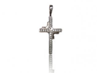 Серебряный крестик с цирконием