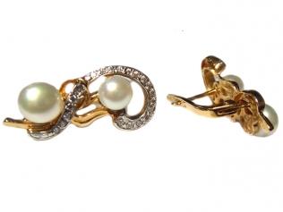 Золотые серьги с жемчугом