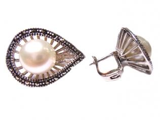 Серебряные серьги с жемчугом -