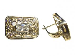 Серебряные серьги с цирконием -