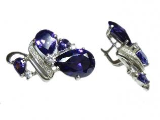 Серебряные серёжки с цирконием
