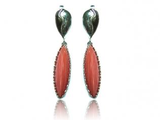 Серебряные серьги с коралом -