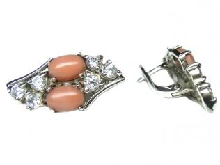 Серебряные серьги с кораллом