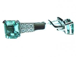 Серебряные серьги с празеолитом